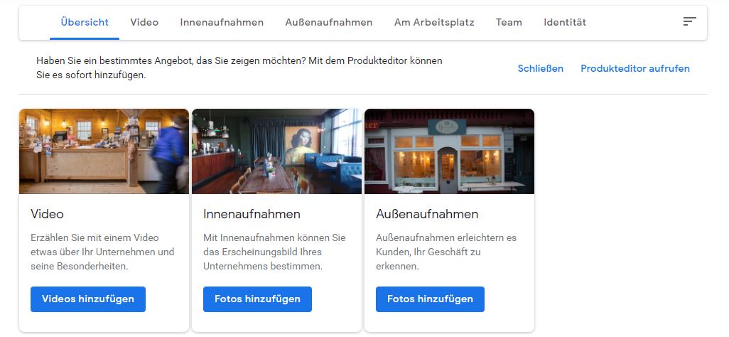 Google My Business Dashboard Ausschnitt Foto-Sektion